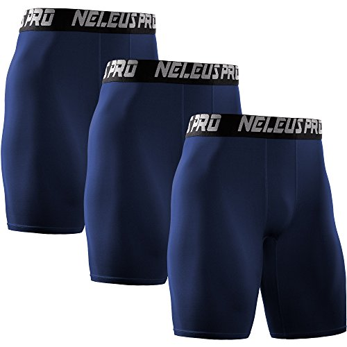 Neleus Men's 3 Pack Athletic Compression Short,6028,Navy Blue,US S,EU ()