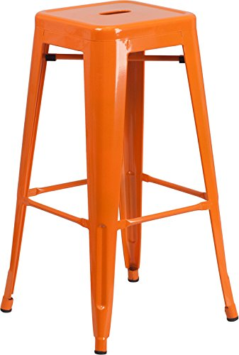Flash Furniture 30'' High Backless Orange Metal Indoor-Outdoor Barstool with Square Seat