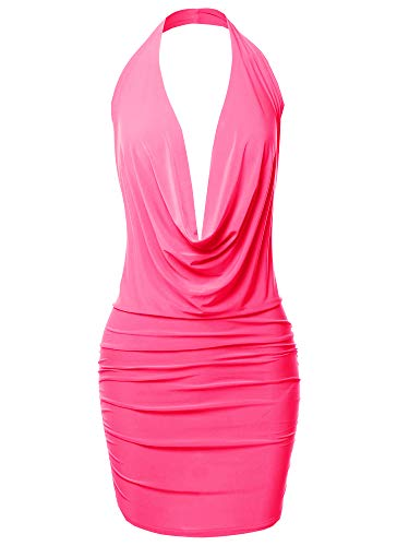 (Made by Emma Sexy Halter Neck Ruched Bodycon Backless Party Cocktail Mini Dress Neon Pink M)