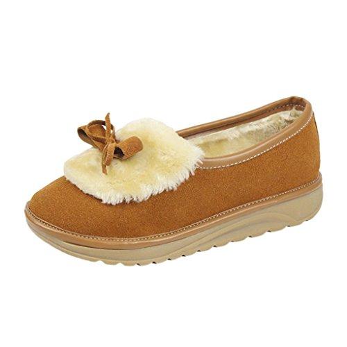 Botas de Zapatos Oto Terciopelo de 36 Mujeres con Para y Invierno Botas Marr Nieve o de cachemira Zapatos de Bowknot e Piel Botas de Sky 6Hpdwp