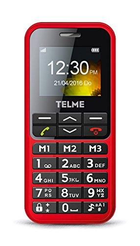 Premium Großtasten Handy Senioren Handy - ohne Vertrag - mit Taschenlampe + Bluetooth + SOS Notruf Button rot