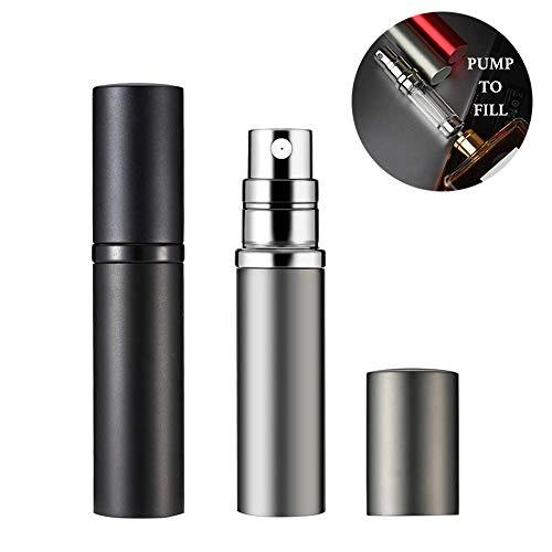 Refillable Perfume Atomizer 5ml Perfume Bottle, Mini Travel Atomizer Empty Portable Perfume Spray Bottle (Black and Silver)