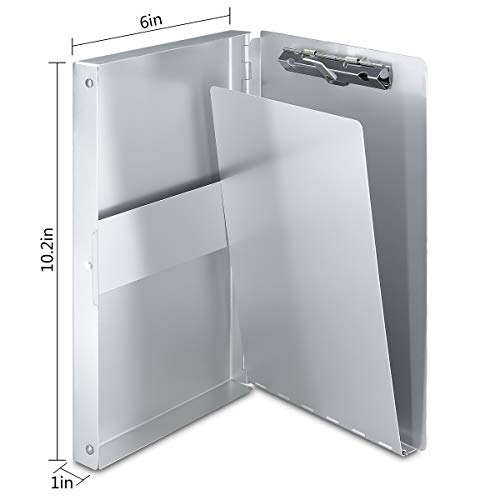 Aluminum Clipboard with Storage Form Holder Portfolio Aluminum Metal Binder Heavy Duty with High Capacity Clip Posse Box - Clipboard for Office Business Professionals Stationer