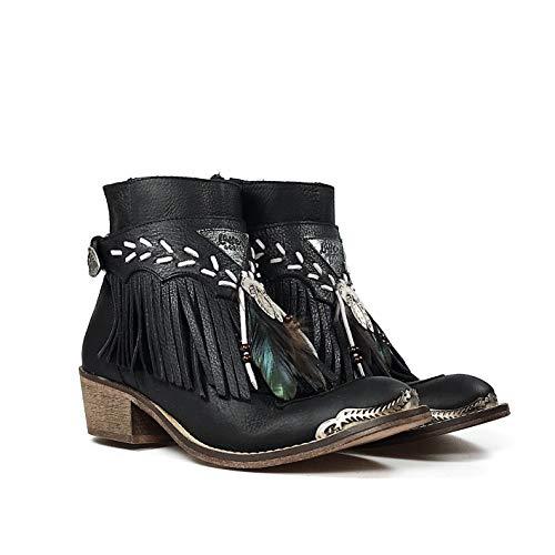 De Con Flecos Negro Layer Cubrebotas Plumas Color Baja Ante Boots Decorada Bota Campera Naturales wqqRaIZU
