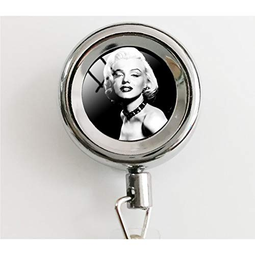 Classic Movie Star Marilyn Monroe Necklace Modern USA Poster Pattern Glass Cabochon Pendant Retractable Badge Holder Reel with Waterproof ID Holders & - Card Poster Monroe Marilyn