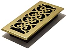 Decor Grates SPH410 4-Inch by 10-Inch Scroll Floor Register, Polished Brass Finish