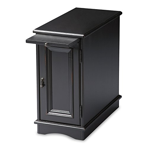 Accent Furniture - Savannah Chairside Chest - Side Table - End Table - Black Finish
