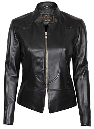 Black Leather Jacket Women - Genuine Lambskin Leather Jackets for Women | Amy, L