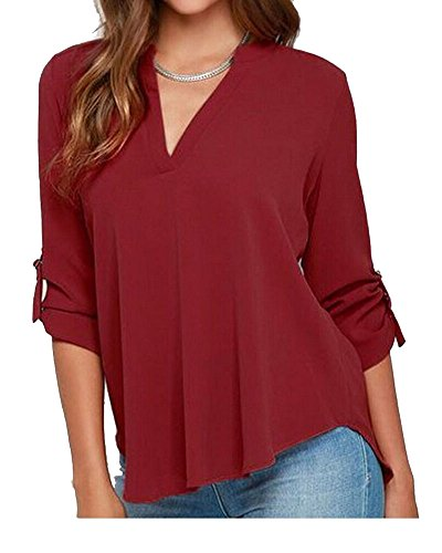 Vin Blouse Femme Elgant Shirts V Rouge Longues Casual Tops Blouse Slim Col Uni Manches Tunique Hauts Chemisier xIZ4xrw