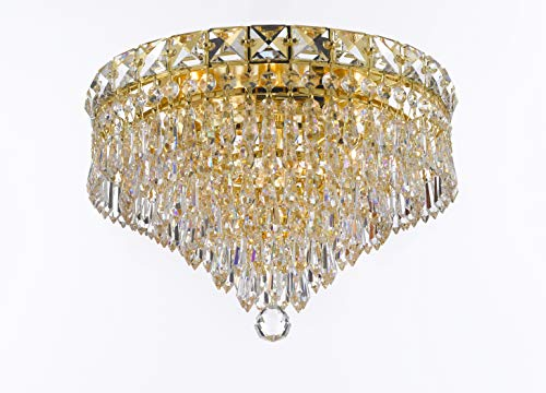 - Pecaso Lighting 3800-12F-G Luminaire Crystal Flush Mount, Gold