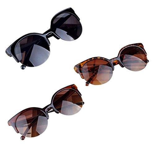 Redondas Ovaladas C UV400 de Gafas Ojos El Mujer De Marco sol Anteojos Unisex Para plastico Sol Pequeño Gusspower de Gafas gato R7aHRdnx