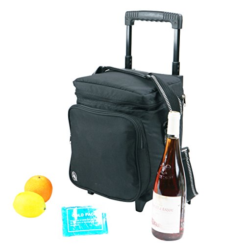 Bottle 6 Trolley - Portable 'Cellar' Insulated Six Bottle Wine Cooler Tote with Wheels