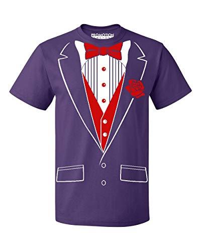 Chick Purple - P&B Tuxedo Red Rose Funny Men's T-Shirt, M, Purple