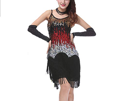 Gatsby Flapper 1920's Themed Wedding New Year Eve's Party Dance Costume Dresses Black/Red]()