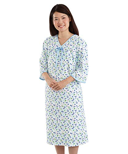 Womens Adaptive Hospital Gown Open Back Regular & Plus Sizes - Blue Wash MED