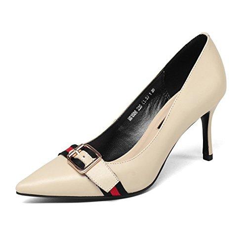 Schuhe Party Court Hochzeit Fashion Womens Pumps Schnalle Spitz Leder Hohen Absätzen Flache Kleid Schuhe Schuhe Metall Mit qf1afO4Hw