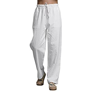 Karlywindow Mens Cotton Linen Casual Pants Elastic Waist Loose Fit Trousers Cargo Beach Pant