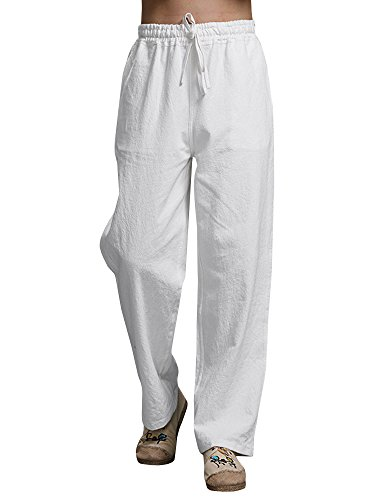 Karlywindow Mens Cotton Linen Casual Pants Elastic Waist Loose Fit Trousers Cargo Beach Pant White
