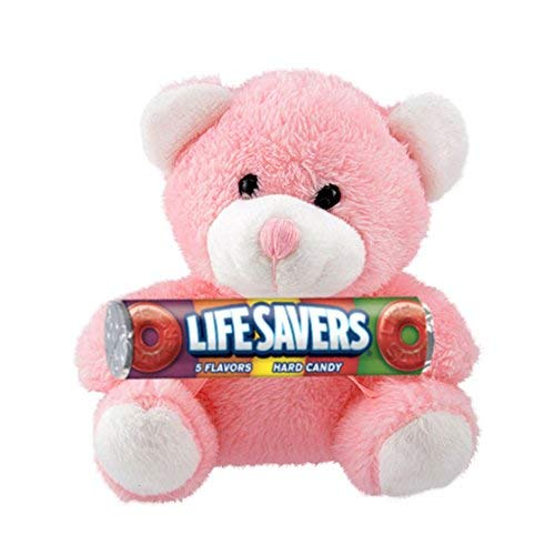 Candy Lovers Shop Fuzzy Friends Plush Teddy Bear with Life Savers Hard Candy Roll Gift Set, Pink