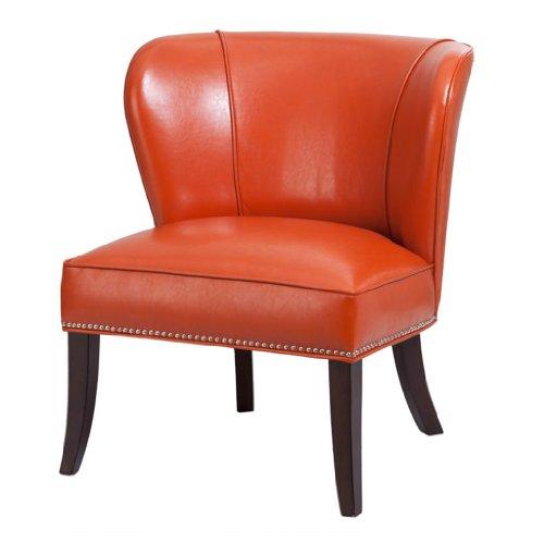 Orange Faux Leather Chair - 3