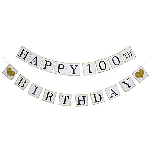 Happy 100th Birthday Banner - Gold Glitter Heart for 100 Years Birthday Party Decoration Bunting -