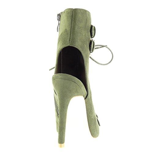 Angkorly - Zapatillas de Moda Botines Sandalias stiletto abierto mujer tanga Hebilla encaje Talón Tacón de aguja alto 12 CM - Verde