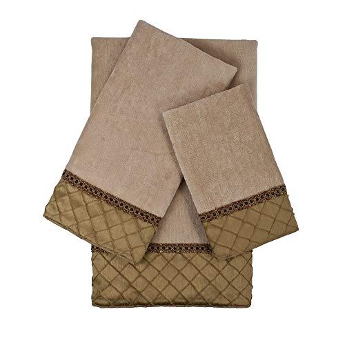 Sherry Kline Pleated Diamond Royal Gold 3-Piece Embellished Towel Set ()