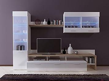 CALISTO Modern Large White Gloss And Sanremo Oak Wood Effect Living Room  Furniture Set Tv Unit