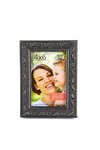 Green Tree Gallery Pewter Wood Scroll Patterned Frame, for a 4 x 6 inch Photo