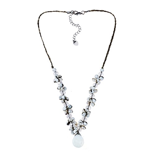 AeraVida Simulated Moonstone-Reconstructed Agate-Cultured FW Pearl-Fashion Crystal Silk Thread Necklace Crystal Fw Cultured Pearl