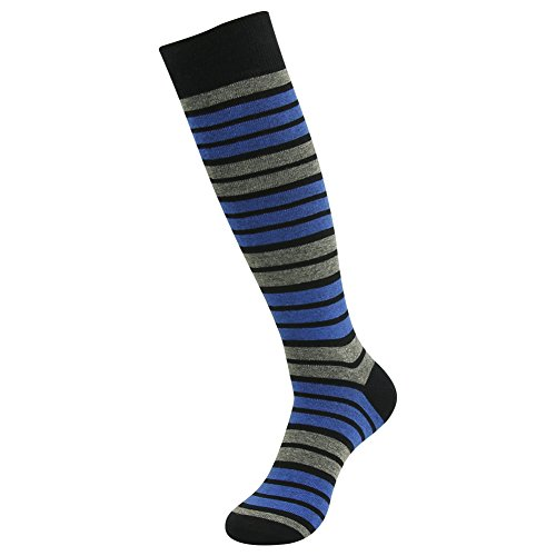 SUTTOS Men's 1 Pair of Knee High Long Tube Blue Black Stripe Fashion Patterned Over The Calf Cotton Comfort Cool Apparel Clothings Casual Dress Socks