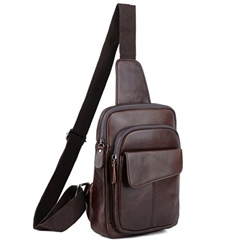 YALUXE Sling Bag Genuine Leather Chest Shoulder Backpack Cross Body Purse Anti Theft For Travel Hiking School Coffee