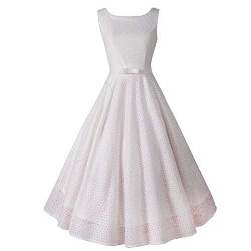 Sue&Joe Women's Vintage Dress Lace 1950s Fit and Flared Sleeveless Swing Dresses, White, 12