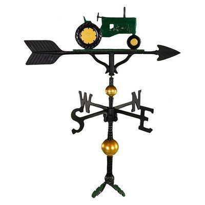 Montague Metal Products 32-Inch Deluxe Weathervane with Green Tractor Ornament by Montague Metal Products