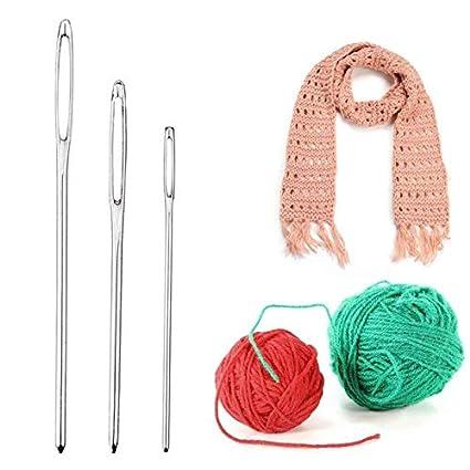 9pcs Large Eye Metal Needles Cross Stitch Knitting Crochet Hook Sewing Set Kits