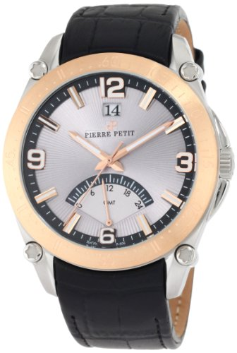 Pierre Petit Men's P-806B Serie Le Mans Rose-Gold PVD Bezel Dual-Time GMT Leather Watch