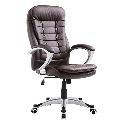 Cloud Mountain Executive Office Chair High Back PU Leather Desk Task Chair Adjustable Swivel Chair with Traditional Ergonomic Design, Brown