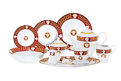 (Fine Porcelain Luxurious Dinnerware Set Medusa Head Inspired By Versace Greek Key Motif - 49 Pieces - Service For 8 Guest - Dishwasher Safe - Red)