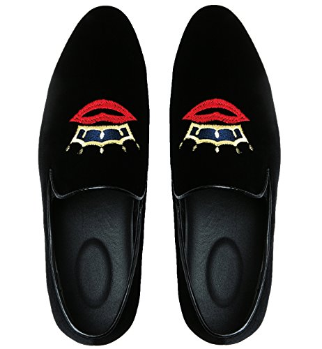 Moccasins Black Slipper Dress Slip Suede Shoes Loafers Smoking Santimon on Embroidery Crown and Casual Mens xwx0qOYZ