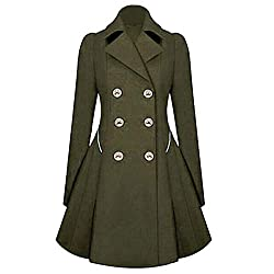 XOWRTE Women's Lapel Stylish Long Parka Coat Warm Winter Trench Jacket Overcoat Outwear