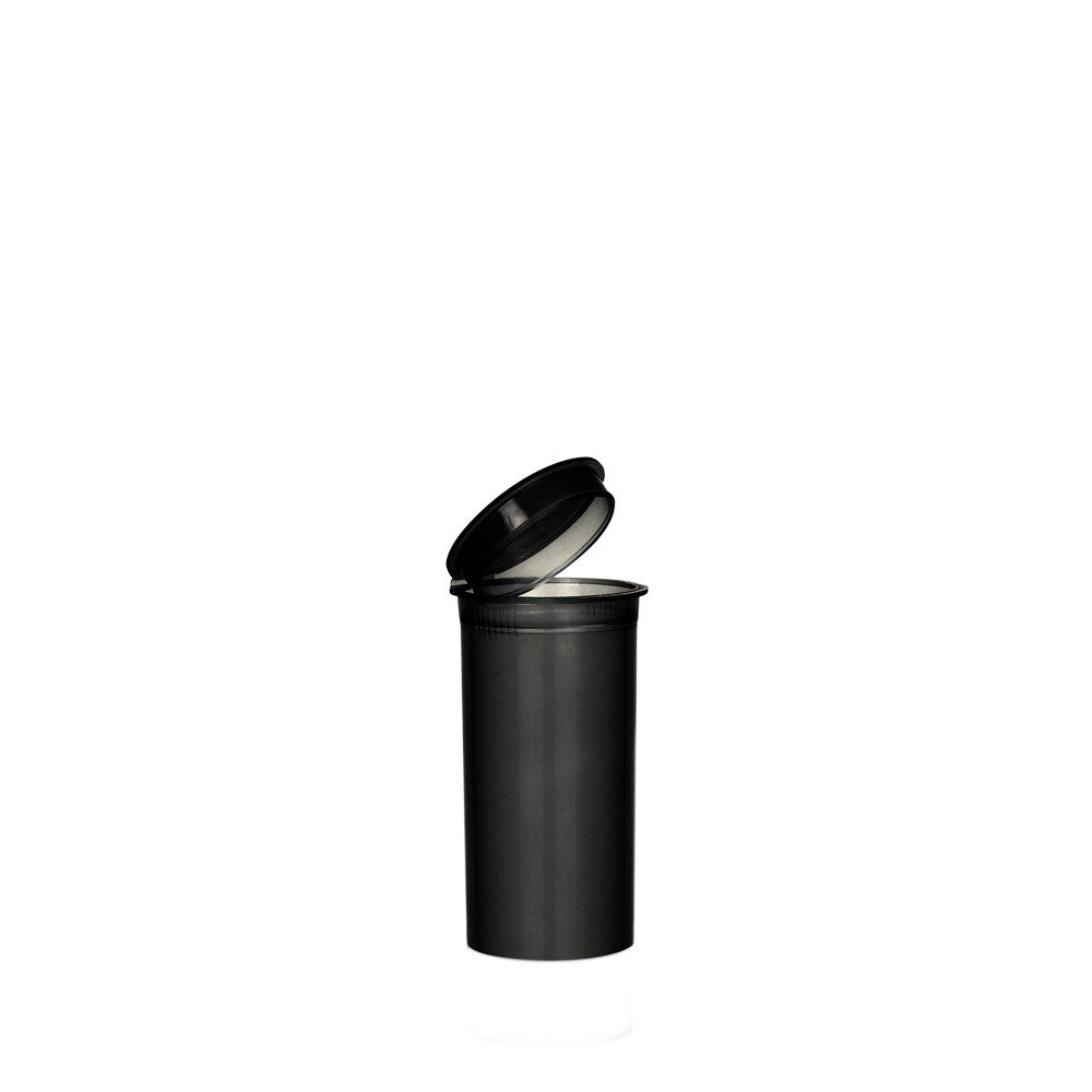 1.40'' x 2.75'' Black Colored Pop Top Bottle 13 Dram (2 Boxes - 315 Containers per Box) - MJ-PVBB13