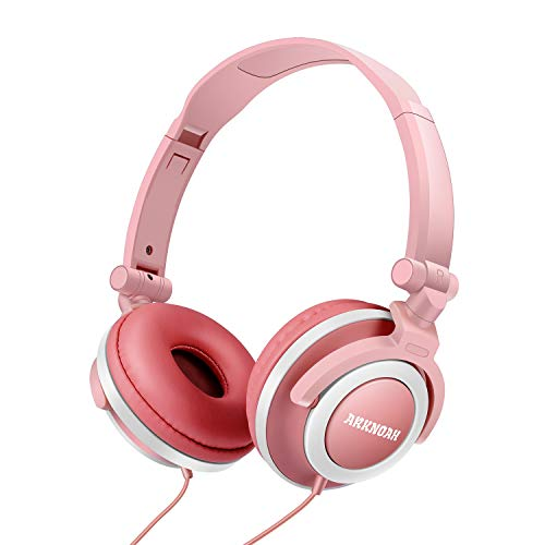 Kid Headphones Safe with Food Grade Material and 85dB Volume Limiting, Foldable and Adjustable On-Ear Headphones 3.5mm Jack Wired for Children Baby Infant Boys and Girls (Sakura Pink x Snowy White)