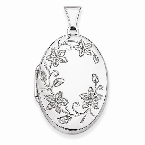 Engravable Locket - Solid 925 Sterling Silver Floral Oval Locket Opens Engravable Pendant (40mm Height x 22mm Width)