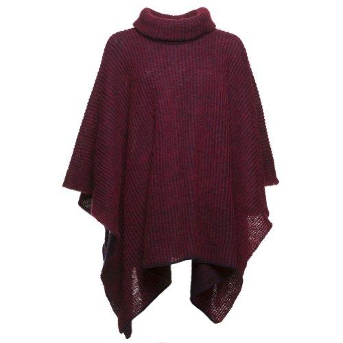 ICEWEAR Ríkey Women's Icelandic Wool Poncho (Wine)