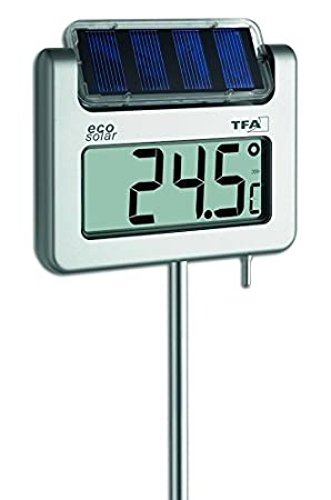 TFA 30.2026 - Termómetro digital de jardín, con panel solar, tamaño XXL: Amazon.es: Jardín