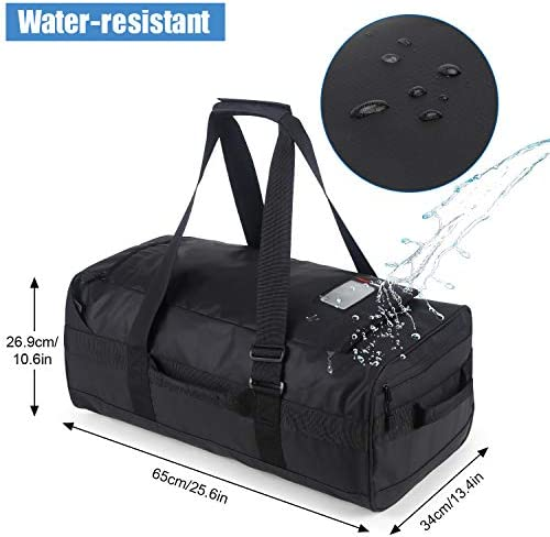 MIER 60L Water Resistant Backpack Duffle Heavy Duty Convertible Duffle Bag with Backpack Straps for Gym, Sports, Travel, Black