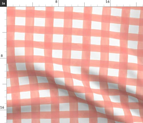 Spoonflower Pink Checked Fabric - Watercolor Gingham in Peach Shabby Chic Nursery Checks Print on Fabric by The Yard - Velvet for Upholstery Home Decor Bottomweight Apparel
