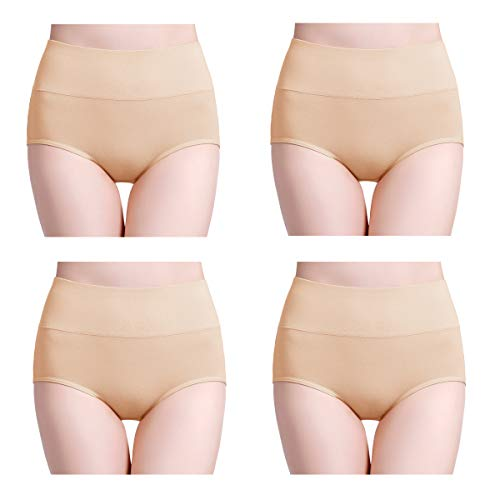 wirarpa Women's 4 Pack Ultra Soft High Waisted Bamboo Modal Underwear Thin Breathable Briefs Panties Beige Size XL 8