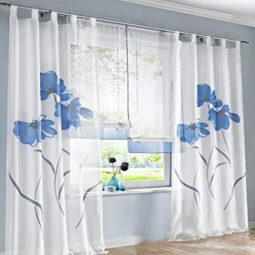 (Urijk Elegant Floral Printed Sheer Curtains, 2 Panels, 59