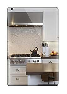 Ipad Mini/mini 2 Contemporary White Kitchen With Iridescent Mosaic Tile Backsplash Print High Quality Tpu Gel Frame Case Cover